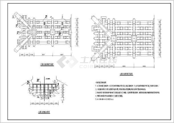 某地区仿古钢筋混凝土结构牌楼建筑施工图(cad图纸下载)