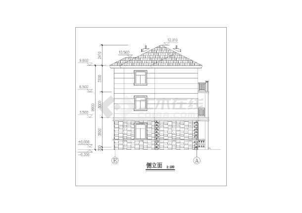 某地区乡村三层别墅建筑设计方案图,图纸内容包括:各平面图, 正立面图
