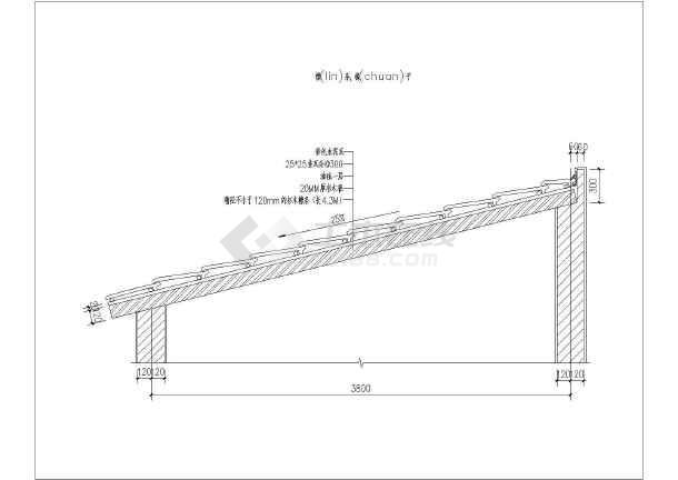 小型房屋屋顶坡面详图20%-30%(檩条及椽子)