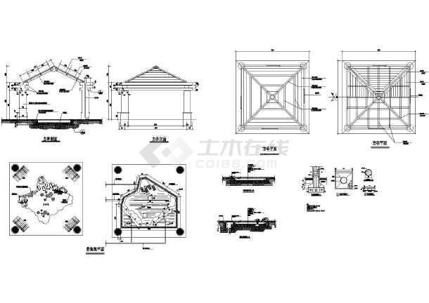 养鱼池塘与木制四角亭施工cad设计图图片