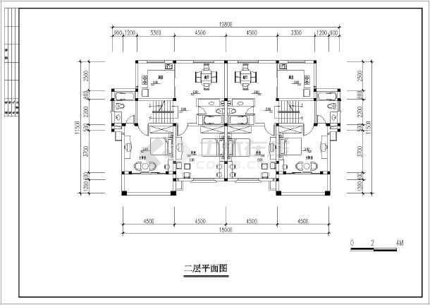 某三层山地双拼别墅建筑设计图(长18米 宽11.5米)