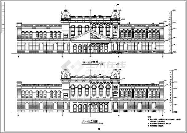 本图纸为:某地区大型三层欧式酒店建筑施工图纸(共12张),其中包括立面
