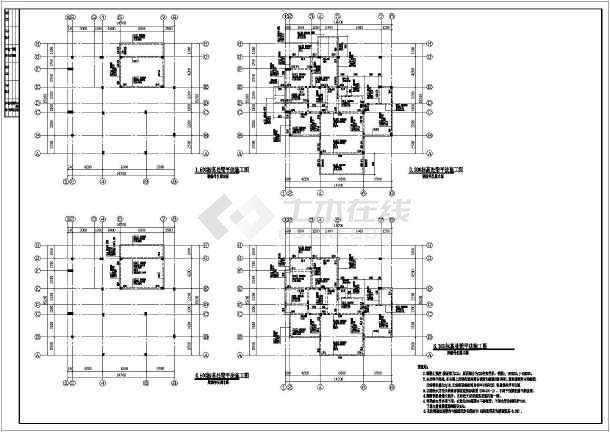 本图纸为:二层半框架结构自建房屋结构施工图,内容包括:柱网平面图