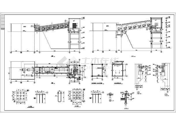 某皮带钢走廊巫师图纸结构设计施工图_cad图wow+桁架煤矿油之图片