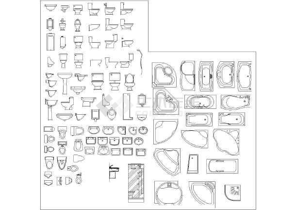 常用cad图块之卫生间用品平面图_cad图纸画画夏目下载图纸友人帐图片