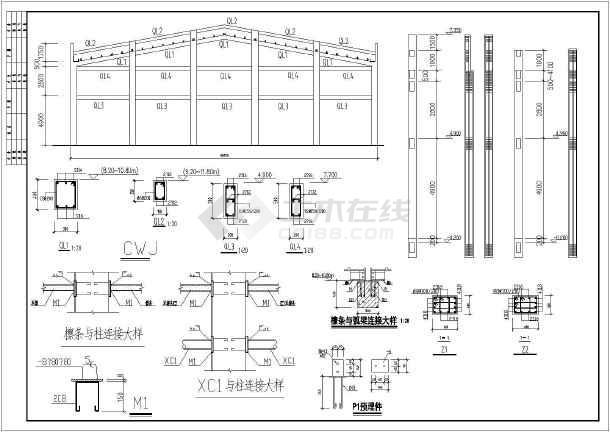 某地30米厂房钢管图纸桁架施工图_cad屋架下表示上图纸支撑结构钢xg什么图片