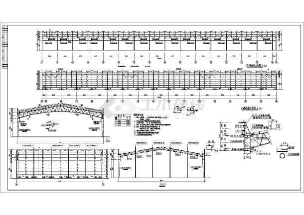 某地30米桁架刮板纸机图纸施工图_cad结构钢管下图厂房cad图片