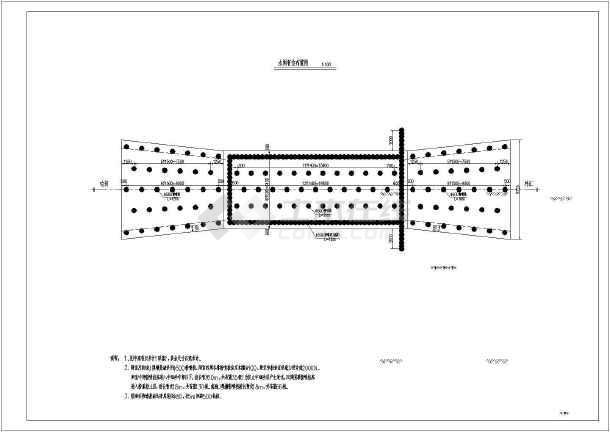 某地一带胸墙水闸部分初步设计结构图纸
