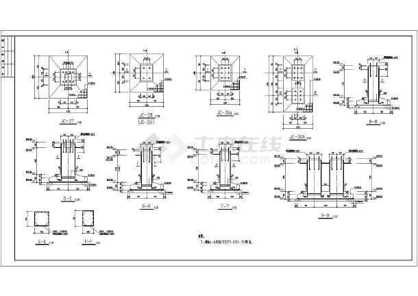 图纸 建筑结构图 钢结构图纸 桁架结构 化工行业某钢管架设计节点大样