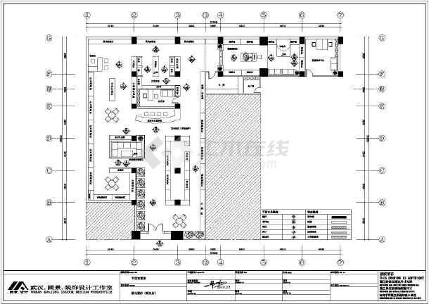 武汉单层框架结构婚纱专卖店室内装修设计施工图