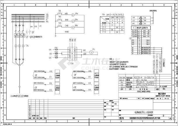 氨区配电房低压设备二次原理接线图