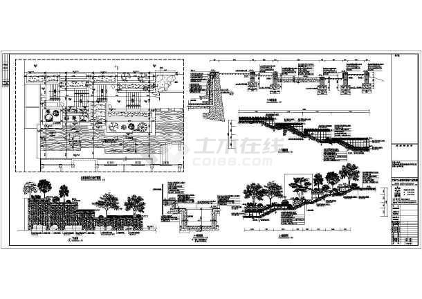 图纸含平面图,立面图,4个剖面图,水池放大图,泵坑/池壁详图,以及树池