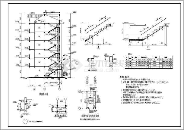 经典住宅框架结构,带老虎窗坡屋顶,有基础,柱平面布置图,基础详图,二