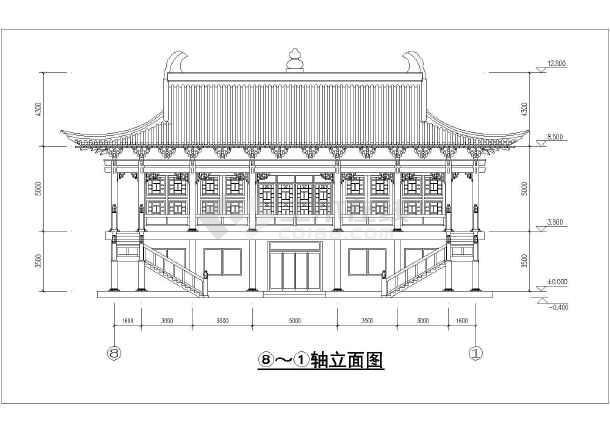 仿古建筑寺庙大殿建筑专业设计方案图纸