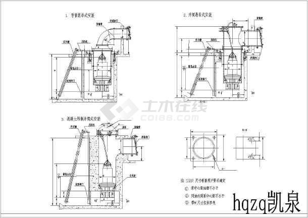 各种水泵详图型号的三视图图纸图纸_cad简图加长规格尺寸1:125图片