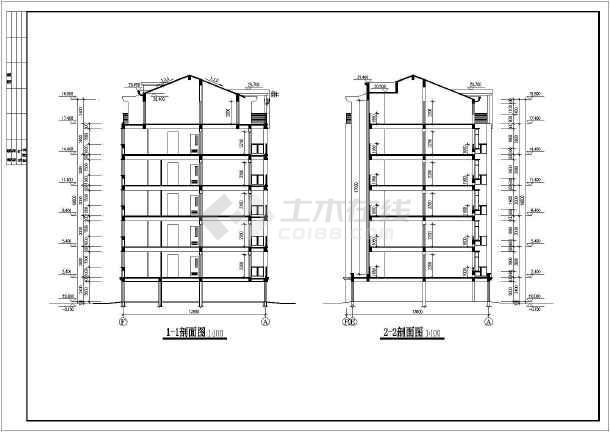某小区单元式住宅设计图,房屋建筑学课程设计图纸,各层平面图,立面图图片