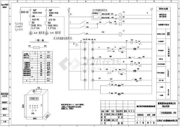 增补消防及潜污泵控制箱一二次接线图