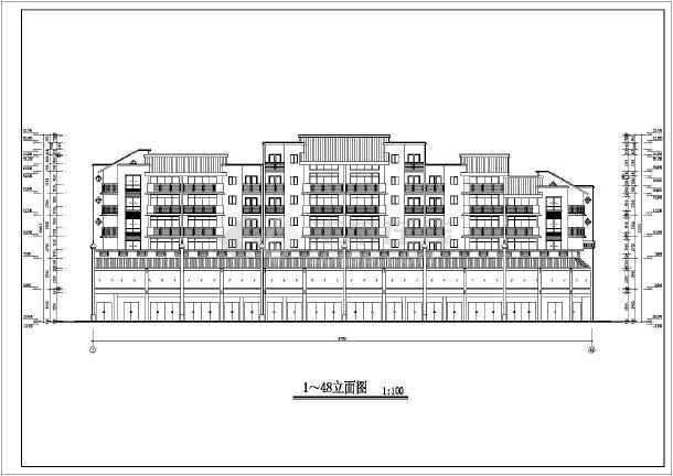 某地六层框架结构四川风格商住楼建筑施工图