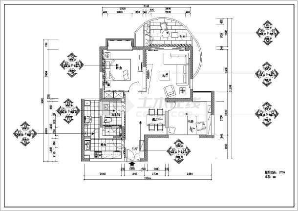 两室两厅一卫装修设计图