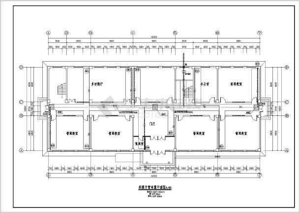 两层学校教学楼水平单管跨越式采暖系统暖通设计图图片