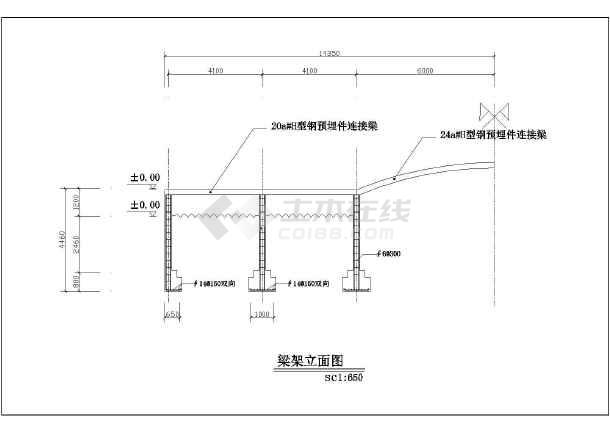 某地區鋼架龍骨結構防腐木拱橋景觀設計施工圖