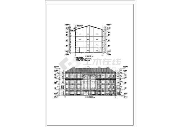 某乡镇四层坡屋顶办公楼建筑设计方案图纸图片1