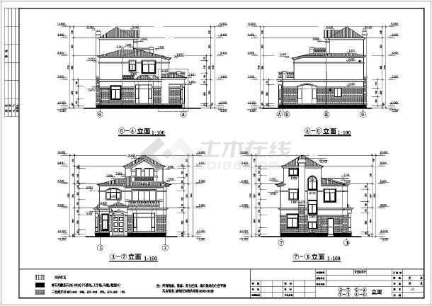 欧式风格独立别墅建筑设计施工图,内容包含一层,二层,三层,屋顶平面图