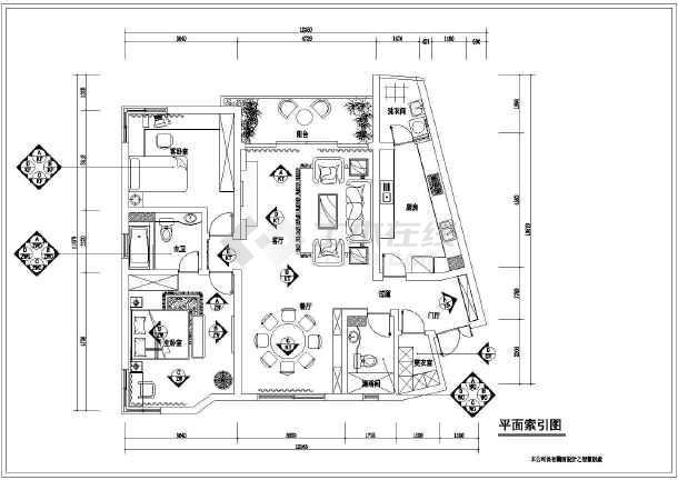 欧式风格小三房室内装饰设计cad图纸围巾编织棋盘图纸图片
