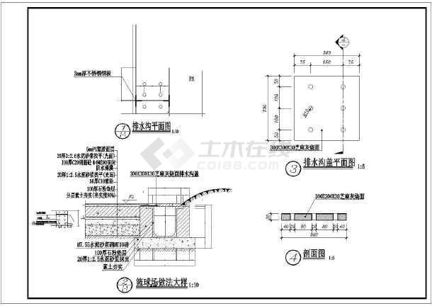 标准小区篮球场及详图配景v标准植物_cad图纸仿古窗cad图图片