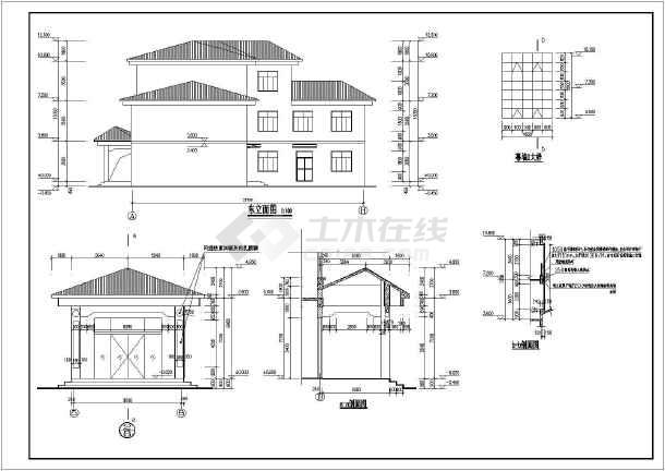 某地三层砖混结构办公楼建筑设计施工图纸