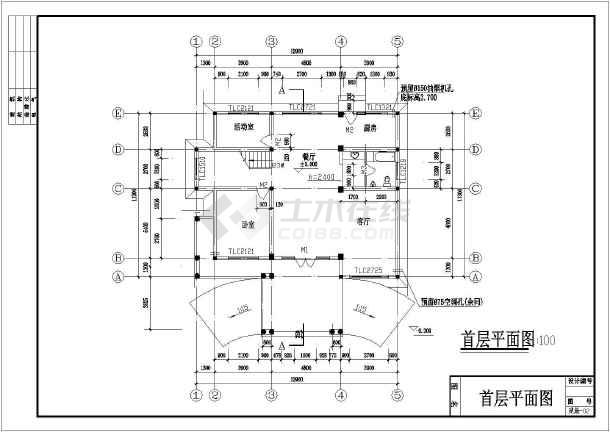 某地两层框架结构别墅建筑设计施工图