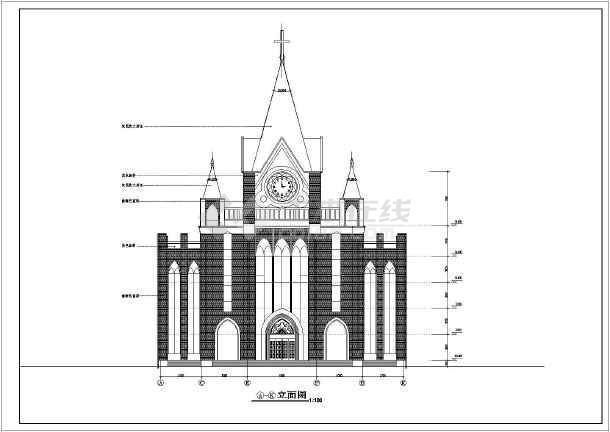 建筑图纸 古建筑设计 欧式景观小品建筑施工图 某地五层框架结构教堂