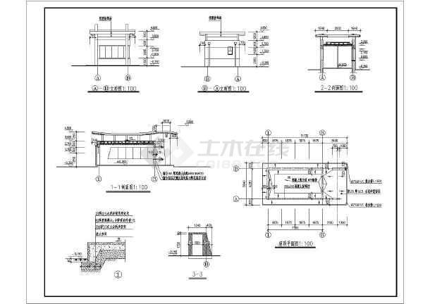 衡阳单层框架结构门卫室(带大门)全套施工设计图