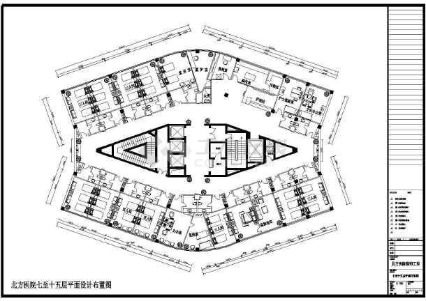 核心筒结构医院病房区域室内装修施工图,图纸包括:七至十五层平面布置