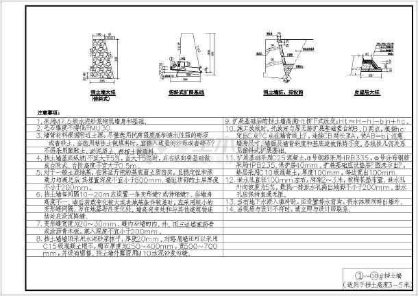 某小区重力式挡土墙全套完整施工图-图3