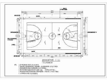 标准篮球场地平面图