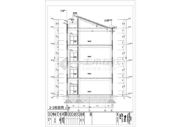 中学四层教学楼建筑设计施工图,图纸内容主要包含:,各层,屋顶平面图图片