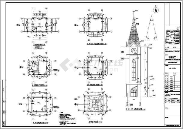 39米高框架标志塔标志钟塔建筑结构施工图图片1