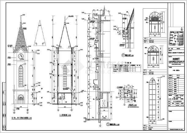 39米高框架标志塔标志钟塔建筑结构施工图图片2