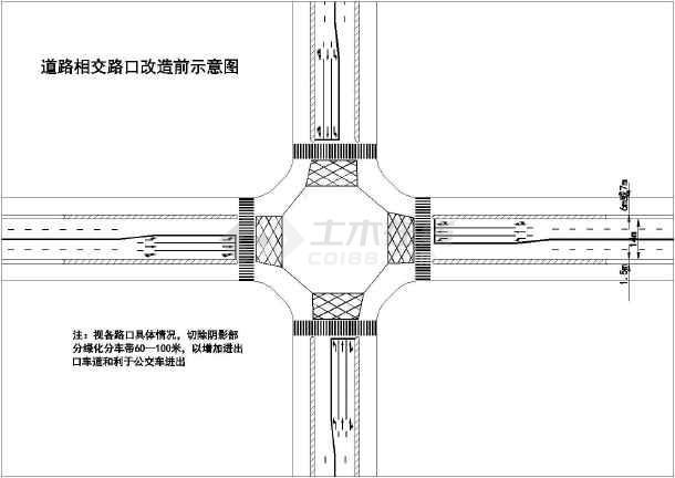 设计方案,图纸包括道路路口改造前后示意图,丁字路口标志标线布置图