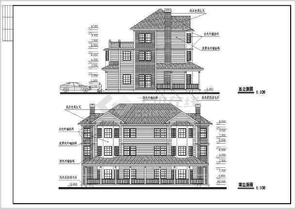 某三层双拼别墅建筑设计图(长19.8米 宽14.4米)