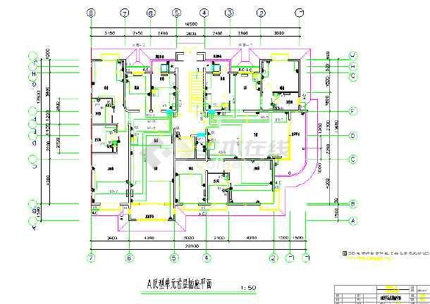 某高层单元式住宅楼照明平面设计图图片1-多套单元式住宅户型平面图