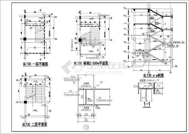 某地房地产后加钢楼梯结构设计施工图纸