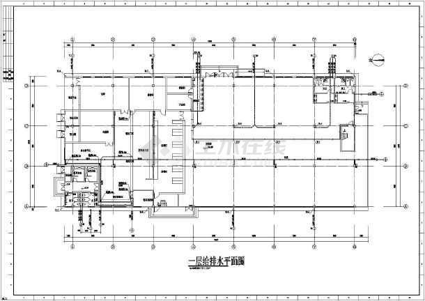 给排水设计说明,一层至二层给排水消防平面图,屋顶平面图,卫生间给排