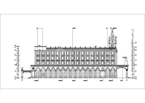 商业建筑 宾馆酒店施工图 某地五层框架结构欧式酒店建筑设计方案图纸