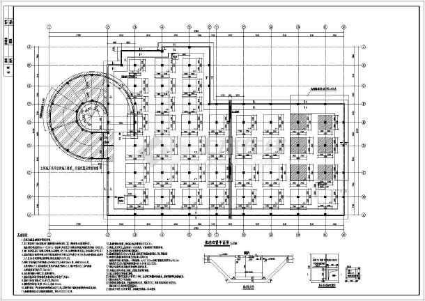 结构设计总说明,基础布置平面图,基础详图,墙,柱布置平面图,柱帽,梁布