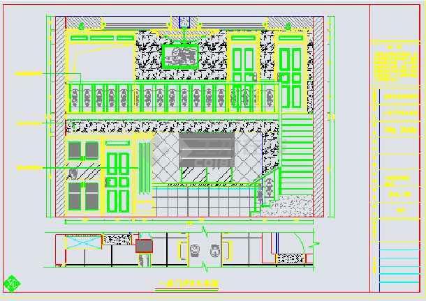 图纸内容包括:平面布局图,客厅立面图,一层卧室c施工图,一层娱乐室