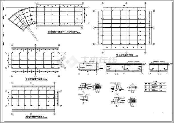 某小区汽车,自行车坡道钢结构顶设计图