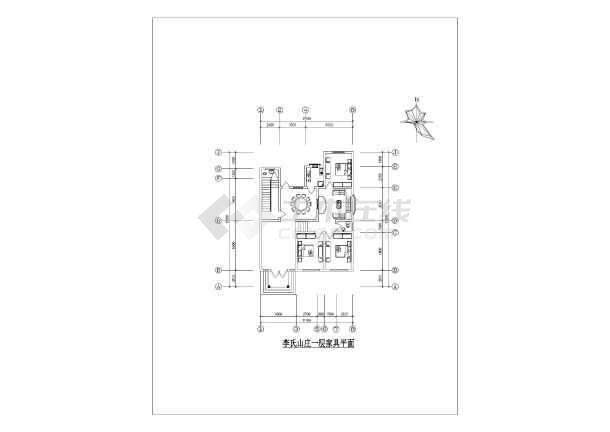 本图纸为李氏山庄小型农家住宅楼建筑设计图纸,图纸内容包括:一层平面
