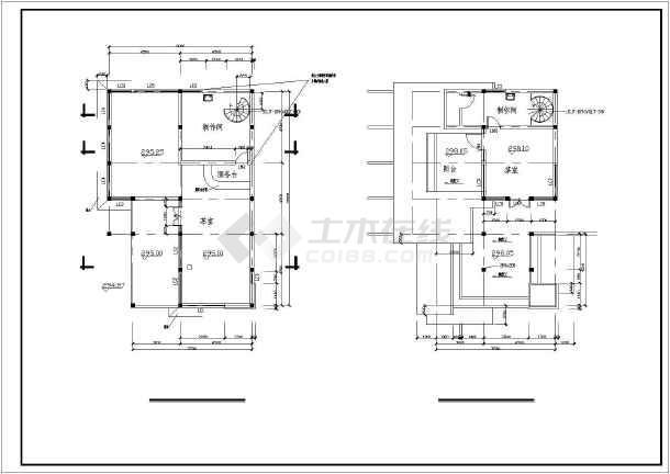 长13.5米宽7.5米二层索道上部茶室设计图